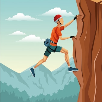 Scena pejzaż człowiek wspinaczka skała góra bez wyposażenia