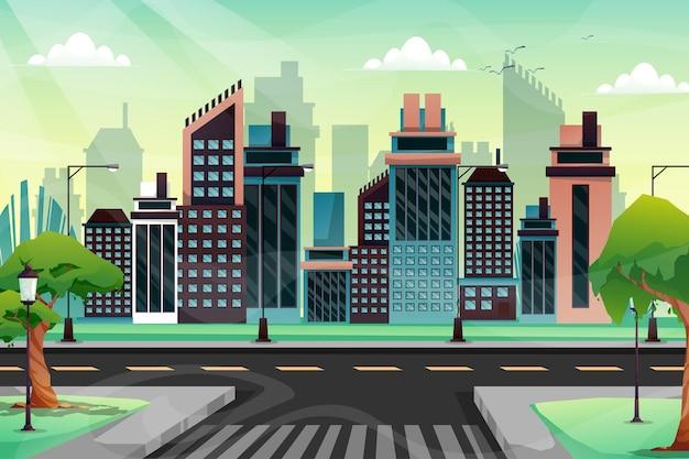 Scena pięknego miasta z wysokim budynkiem, sklepem i ulicą z parkiem