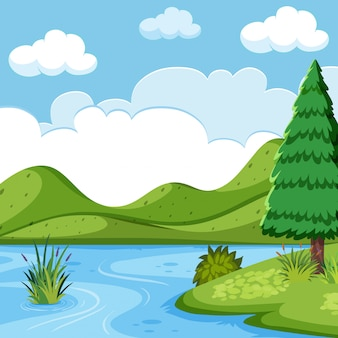 Scena piękny krajobraz jeziora