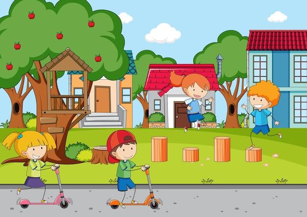 Scena placu zabaw z wieloma dziećmi