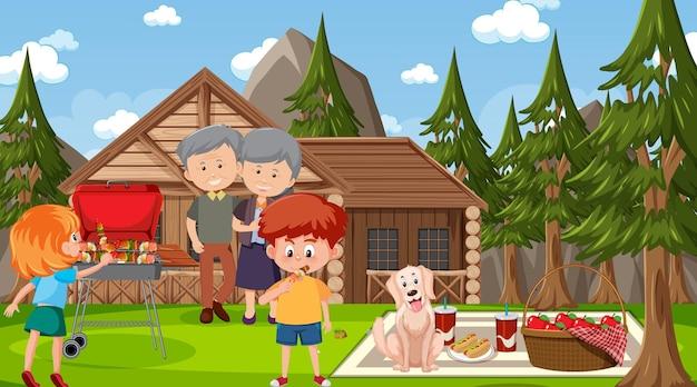 Scena plenerowa natury ze szczęśliwą rodziną na pikniku