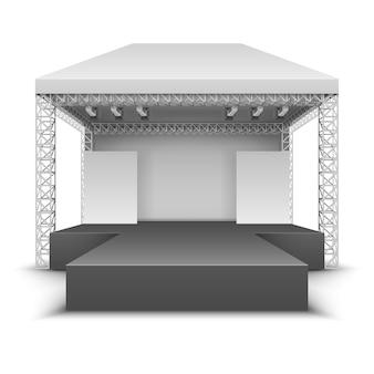 Scena plenerowego festiwalu muzycznego. rockowa scena koncertowa z reflektorami ilustracja wektorowa na białym tle. scena festiwalowa plenerowa, koncert i występ