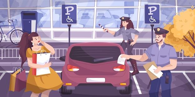 Scena policji drogowej z symbolizacją grzywny za parkowanie