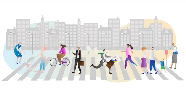 Scena pośpiechu miasta z ludźmi