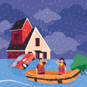 Scena powodziowa w pejzażu miejskim