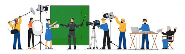 Scena produkcji filmowej. pojedyncze osoby zajmujące się produkcją filmów. mężczyzna reżyser filmowy, osoba aktor, operator kamery, technik oświetlenia, ilustracja wektorowa projektanta dźwięku