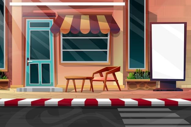 Scena przednia zewnętrzna strona domu z fasadą przeciwsłoneczną.