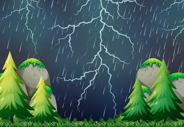 Scena przyrody burza z piorunami