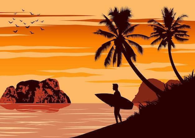 Scena przyrody morza latem, człowiek trzyma deskę surfingową w pobliżu plaży