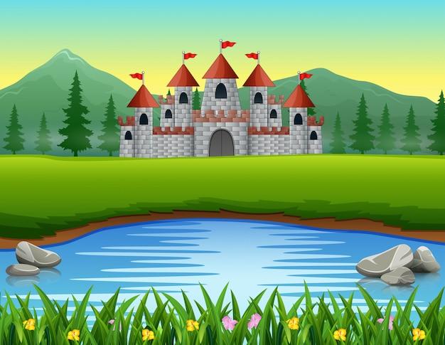 Scena przyrody przed tłem zamku