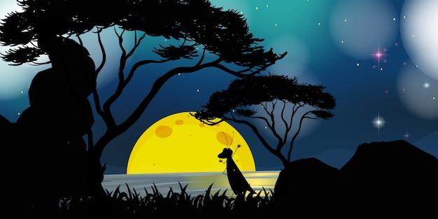 Scena przyrody w nocy