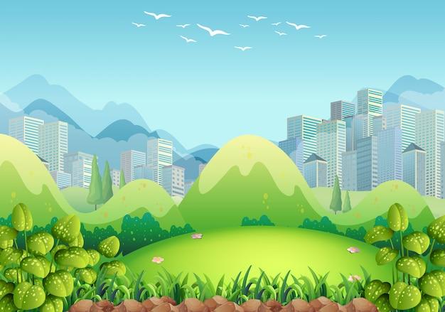 Scena przyrody z budynkami