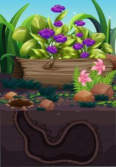 Scena przyrody z kwiatem i podziemną dziurą