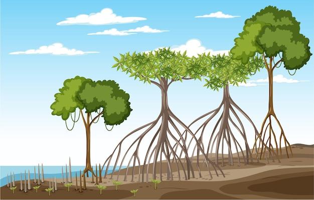 Scena przyrody z lasem namorzynowym w stylu kreskówki