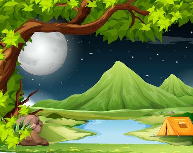 Scena przyrody z namiotem