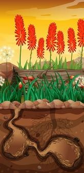 Scena przyrody z podziemną dziurą i ogród kwiatowy