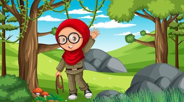 Scena przyrody z postacią z kreskówek muzułmańskiej dziewczyny odkrywającą las