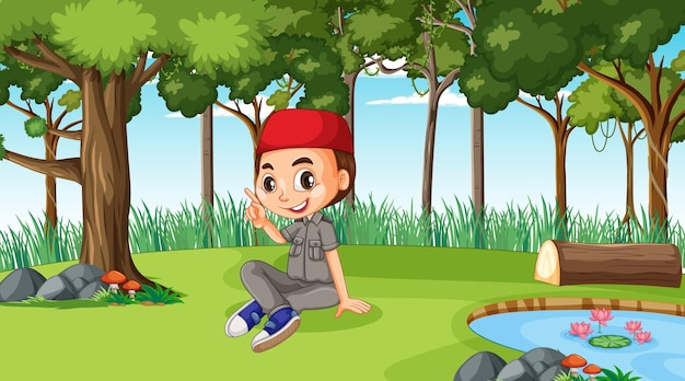 Scena przyrody z postacią z kreskówki muzułmańskiego chłopca odkrywającą las