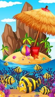 Scena przyrody z rybami i wyspą
