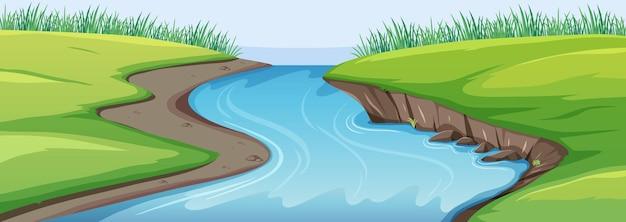 Scena przyrody z rzeką i łąką