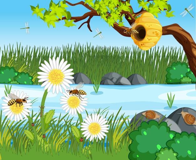 Scena przyrody z wieloma pszczołami w lesie