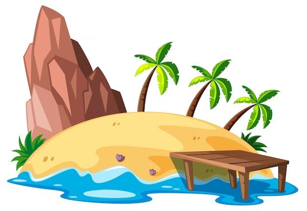 Scena przyrody z wyspą i oceanem