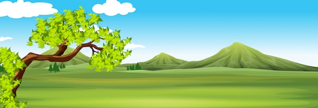 Scena przyrody z zielonym polem