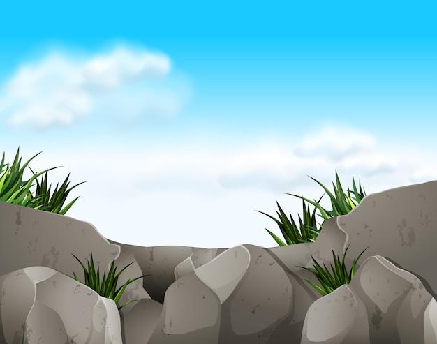 Scena przyrody ze skałami i niebem