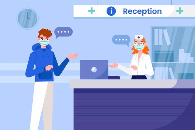 Scena recepcji szpitala rysowane ręcznie