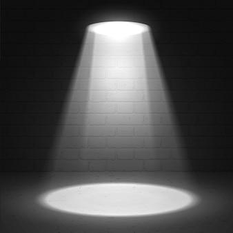 Scena reflektorów na ciemnym tle grunge. scena oświetlona reflektorem.
