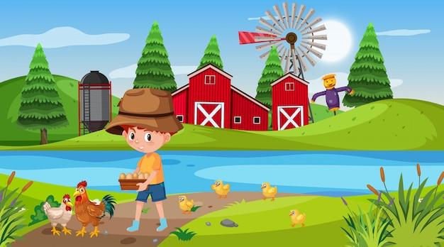 Scena rolna z chłopcem i kurczakami