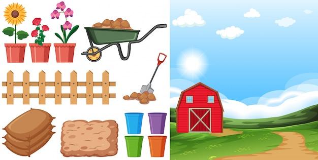 Scena rolna z polami uprawnymi i innymi przedmiotami rolniczymi w gospodarstwie