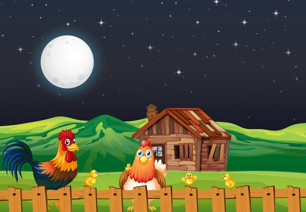 Scena rolna ze stodołą, wiatrakiem i kurczakiem w nocy
