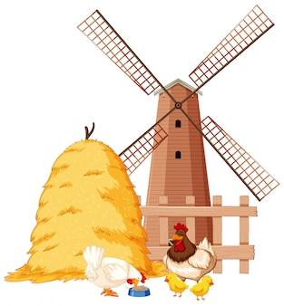 Scena rolna ze zwierzętami gospodarskimi i stodołą