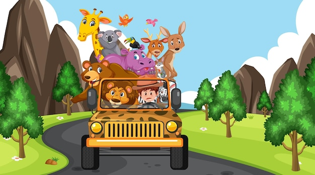 Scena safari z dzikimi zwierzętami w samochodzie jeep