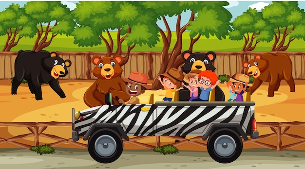 Scena safari z wieloma niedźwiedziami i dziećmi w samochodzie turystycznym