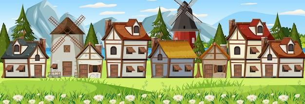 Scena średniowiecznego krajobrazu miasta