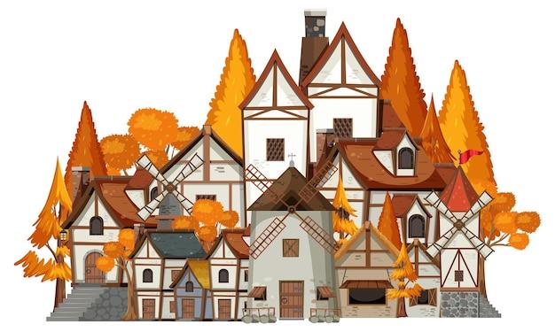 Scena średniowiecznej wioski na białym tle