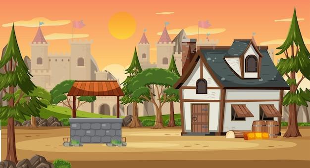 Scena średniowiecznej wioski z tłem zamku