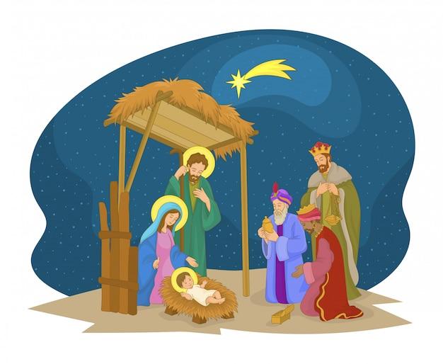 Scena świątecznego mangera. jezus, maryja, józef i magowie.