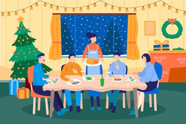 Scena świątecznej kolacji
