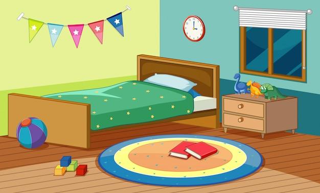 Scena sypialni z łóżkiem i wieloma zabawkami w pokoju