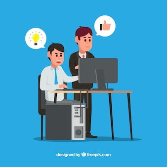 Scena szefa i pracownika pracujących razem
