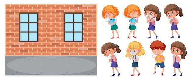 Scena szkolna i zestaw chorych dzieci na białym tle