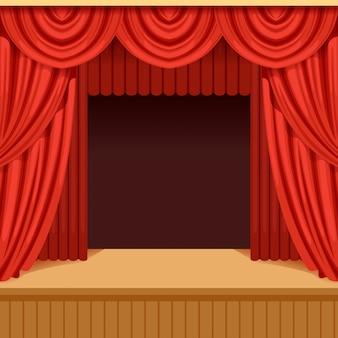 Scena teatralna z czerwoną kurtyną i ciemną scenerią. scena ze szkarłatną aksamitną draperią. tło dla plakatu imprezy lub spektaklu.