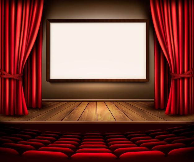 Scena teatralna z czerwoną zasłoną, siedzeniami i tablicą projektową. wektor.