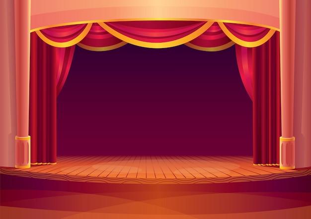 Scena teatralna z czerwonymi zasłonami i na światło. kreskówka teatru wnętrza z pustą drewnianą sceną. szablon wielkiego otwarcia koncertu.