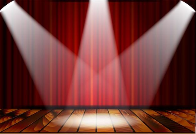Scena teatralna z czerwonymi zasłonami
