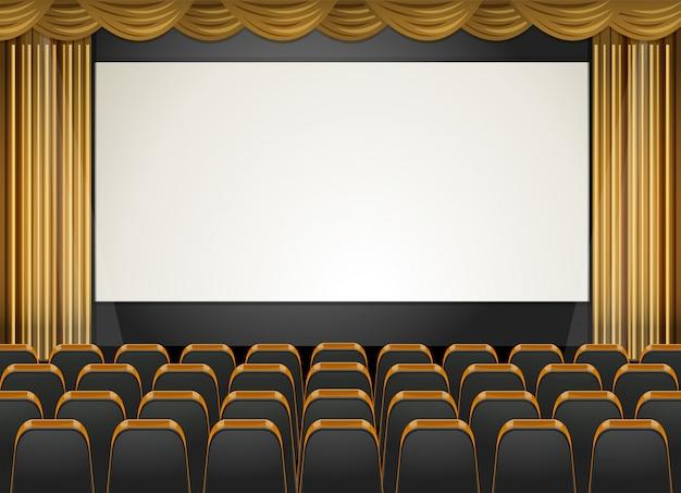 Scena teatralna z ekranem i siedzeniami