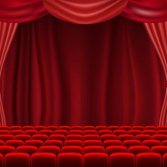 Scena teatralna z zasłonami